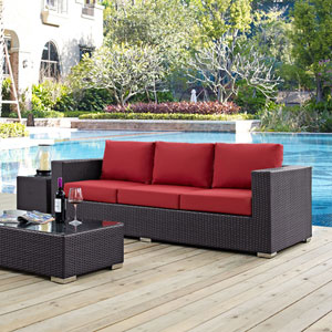 Convene Outdoor Patio Sofa in Espresso Red