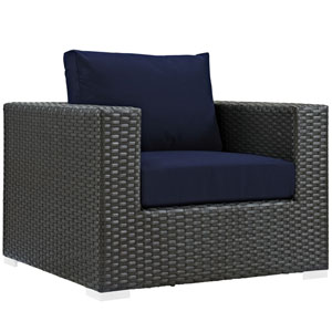 Sojourn Canvas and Navy Outdoor Patio Armchair