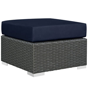 Sojourn Canvas and Navy Outdoor Patio Ottoman