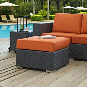 Sojourn Outdoor Patio Sunbrella® Ottoman in Canvas Tuscan