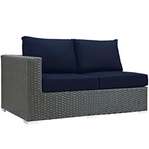 Sojourn Outdoor Patio Sunbrella® Left Arm Loveseat in Canvas Navy