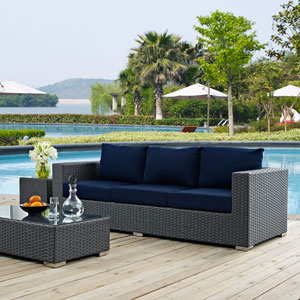 Sojourn Outdoor Patio Sunbrella® Sofa in Canvas Navy