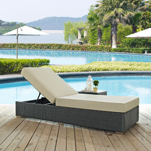 Sojourn Outdoor Patio Sunbrella® Chaise Lounge in Canvas Antique Beige