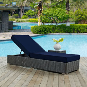 Sojourn Outdoor Patio Sunbrella® Chaise Lounge in Canvas Navy