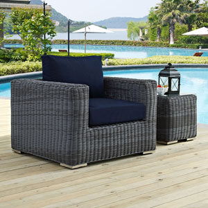 Summon Outdoor Patio Fabric Sunbrella® Armchair in Canvas Navy