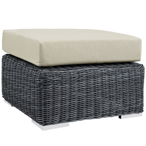 Summon Canvas and Beige Outdoor Patio Ottoman