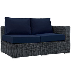 Summon Outdoor Patio Sunbrella® Right Arm Loveseat in Canvas Navy