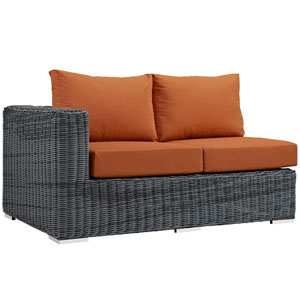 Summon Outdoor Patio Sunbrella® Left Arm Loveseat in Canvas Tuscan