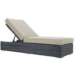 Summon Canvas and Beige Outdoor Patio Chaise Lounge