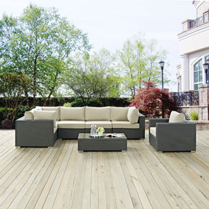 Sojourn 7 Piece Outdoor Patio Sunbrella® Sectional Set in Canvas Antique Beige