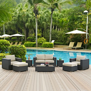 Sojourn 8 Piece Outdoor Patio Sunbrella® Sectional Set in Canvas Antique Beige