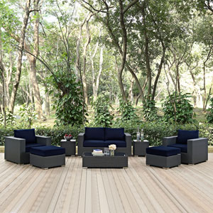 Sojourn 8 Piece Outdoor Patio Sunbrella® Sectional Set in Canvas Navy