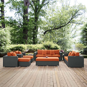 Sojourn 9 Piece Outdoor Patio Sunbrella® Sectional Set in Canvas Tuscan