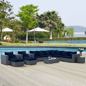 Sojourn 11 Piece Outdoor Patio Sunbrella® Sectional Set in Canvas Navy