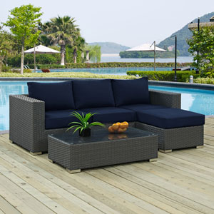 Sojourn 3 Piece Outdoor Patio Sunbrella® Sectional Set in Canvas Navy