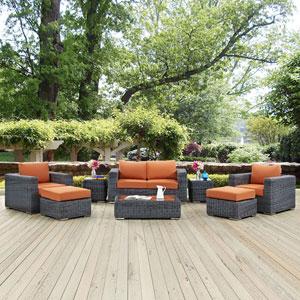 Summon 8 Piece Outdoor Patio Sunbrella® Sectional Set in Canvas Tuscan