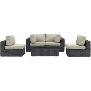 Summon 5 Piece Canvas and Beige Outdoor Patio Sectional Set