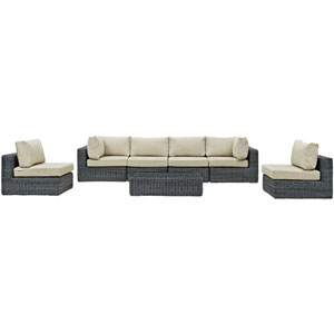 Summon 7 Piece Canvas and Beige Outdoor Patio Sectional Set