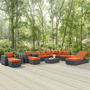 Summon 12 Piece Outdoor Patio Sunbrella® Sectional Set in Canvas Tuscan