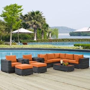 Summon 10 Piece Outdoor Patio Sunbrella® Sectional Set in Canvas Tuscan