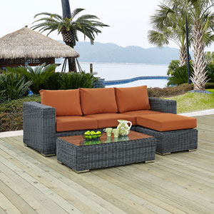 Summon 3 Piece Outdoor Patio Sunbrella® Sectional Set in Canvas Tuscan
