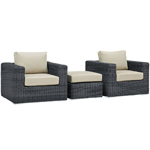 Summon 3 Piece Canvas and Beige Outdoor Patio Sectional Set