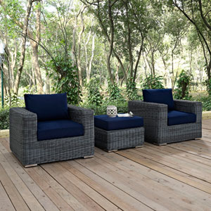 Summon 3 Piece Outdoor Patio Sunbrella® Sectional Set in Canvas Navy