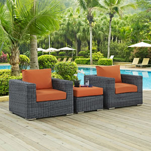 Summon 3 Piece Outdoor Patio Sunbrella® Sectional Set in Canvas Tuscan