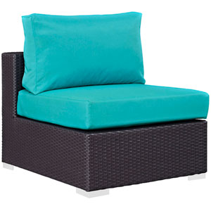 Convene Outdoor Patio Armless in Espresso Turquoise
