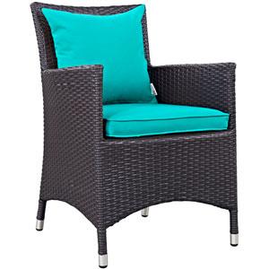 Convene Dining Outdoor Patio Armchair in Espresso Turquoise
