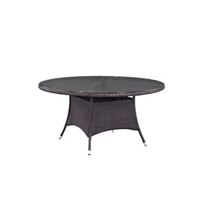 Convene 59-inch Round Outdoor Patio Dining Table in Espresso