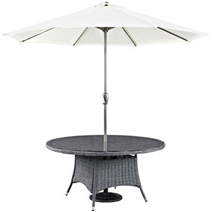 Summon 59-inch Round Outdoor Patio Dining Table in Gray