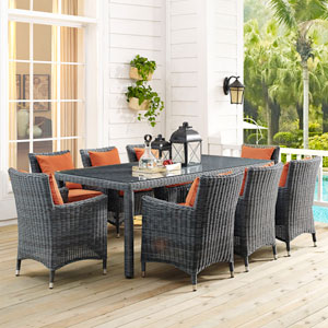 Summon 83-inch Outdoor Patio Dining Table in Gray