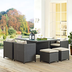 Sojourn 9 Piece Outdoor Patio Sunbrella® Dining Set in Antique Canvas Beige