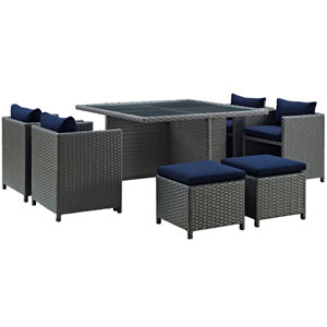 Sojourn 9 Piece Outdoor Patio Sunbrella® Dining Set in Canvas Navy