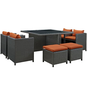 Sojourn 9 Piece Outdoor Patio Sunbrella® Dining Set in Canvas Tuscan