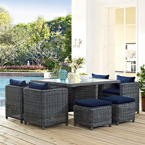Summon 9 Piece Outdoor Patio Sunbrella® Dining Set in Canvas Navy