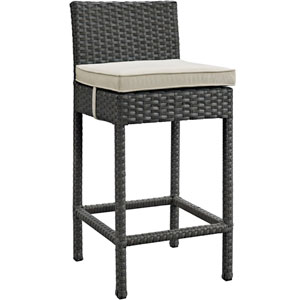 Sojourn Outdoor Patio Wicker Sunbrella® Bar Stool in Antique Canvas Beige