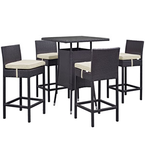 Convene 5 Piece Outdoor Patio Pub Set in Espresso Beige