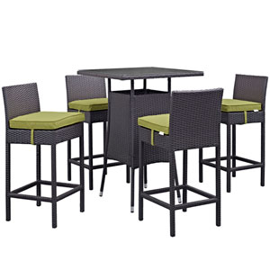 Convene 5 Piece Outdoor Patio Pub Set in Espresso Peridot