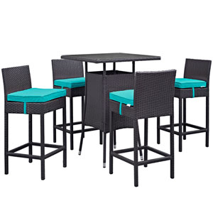 Convene 5 Piece Outdoor Patio Pub Set in Espresso Turquoise
