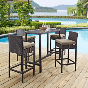 Convene 5 Piece Outdoor Patio Pub Set in Espresso Mocha