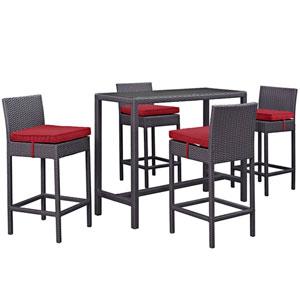 Convene 5 Piece Outdoor Patio Pub Set in Espresso Red