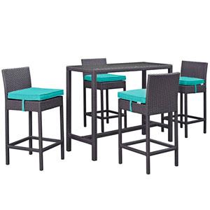 Convene 5 Piece Outdoor Patio Pub Set in Espresso Turquoise