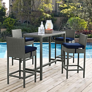 Sojourn 5 Piece Outdoor Patio Sunbrella® Pub Set in Canvas Navy