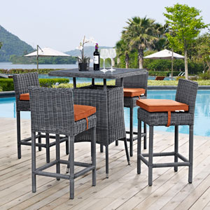 Summon 5 Piece Outdoor Patio Sunbrella® Pub Set in Canvas Tuscan