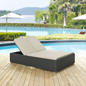 Sojourn Outdoor Patio Sunbrella® Double Chaise in Chocolate Beige