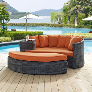 Summon Outdoor Patio Sunbrella® Daybed in Canvas Tuscan