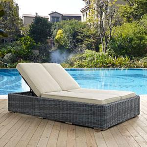 Summon Double Outdoor Patio Sunbrella® Chaise in Beige