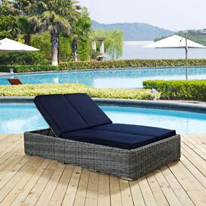 Summon Double Outdoor Patio Sunbrella® Chaise in Navy